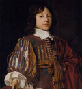 Mytens Jan Portrait of a young gentleman in a burgundy doublet with slashed sleeves and a sash a feathered cap in hand