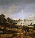 Neer van der Aert River view Sun