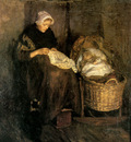 Neuhuys Albert Woman at cradle Sun