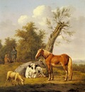 Oberman Anthony Cows A Horse And A Sheep Resting By A Blasted Oak