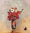 redon vase of flowers with butterflies 1912