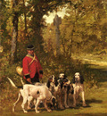 De Penne Charles Olivier A Huntmaster With His Dogs On A Forest Trail