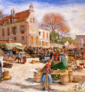 Piette Ludovic The market in Pontoise Sun