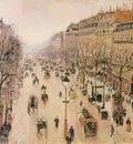 pissarro le boulevard montmartre  morning, grey weather,
