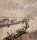 pissarro steamboats in the port of rouen