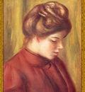 po par 253 profil de femme au corsage rouge