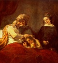 REMBRANDT JACOB BLESSES THE SONS OF JOSEPH 1656 GEMALDEGALER