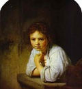 Rembrandt A Young Girl Leaning on a Window Sill