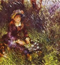 Pierre Auguste Renoir A Woman with A Dog Portrait of Madame Renoir