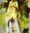 Pierre Auguste Renoir Woman Standing by a Tree