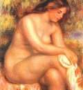 renoir bather drying her leg c1910