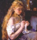 renoir girl crocheting c1875