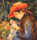 renoir mlle marie therese durand ruel sewing