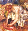 renoir woman tying her shoe c1918