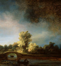 Rijn van Rembrandt Landscpae with bridge Sun
