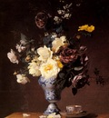 Rivoire Francois Roses And Other Flowers In A Blue And White Vase