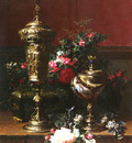 Robie Jean Baptiste Belgian 1821 to 1910 A Still Life With A German Cup, A Nautilus Cup, A Gobl