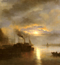 Rooseboom Nicolaas Johannes Vessels Before A Harbour Town By Moonlight