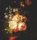 ruysch roses marigolds hyacinth etc on marble ledge