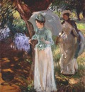 sargent two girls with parasols
