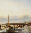 schelfhout andreas ice view with boat and farm sun