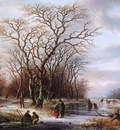 Schelfhout Andreas Scaters on frozen canal Sun