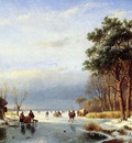 Schelfhout Andreas Scaters on frozen river with firs Sun