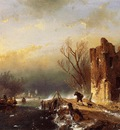Schelfhout Andreas Traveller country road in winter Sun