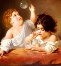 Schlesinger Henri Guillaume Blowing Bubbles