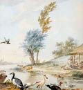 Schouman Aert Landscape with water birds Sun