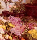 Sottocornola Giovanni Still Life Flower Pots And Cut Flowers