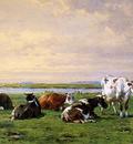 Stortenbeker Pieter Meadow landscape with cows Sun