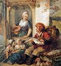 Strij van Abraham Fish salesman at woman and chidren Sun