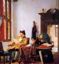 Strij van Abraham Merchant at a table near window Sun