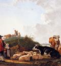 Strij van Jacob Herdsman with resting cattle Sun