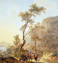 Strij van Jacob Italian landscape with herdsmen couple Sun
