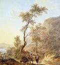 Strij van Jacob Italian landscape with herdsmen couple Sun