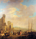 Strij van Jacob Landscape with coast and ruin Sun
