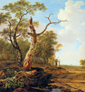 Strij van Jacob Landscape with dead tree Sun