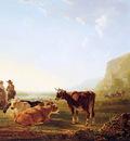 Strij van Jacob Landscape with resting cows Sun