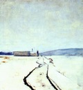 twachtman along the river, winter c1887