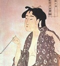utamaro woman smoking early 1790s