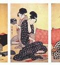 utamaro women making dresses 1 triptych mid 1790s