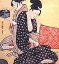 utamaro women making dresses 3 center panel