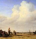 Velde van de Adriaen Beach scene Sun