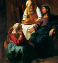 Vermeer Johannes Christ in the house of Martha and Maria Sun