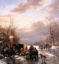 Verschuur Wouterus Country folk in a winter landscape Sun