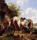 Verschuur Wouterus Landscape with two horses Sun
