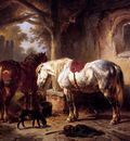 Verschuur Wouterus Two horses a dog and caretaker Sun