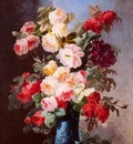 Viard Georges A Still Life With Roses And Peonies In A Blue Vase